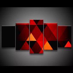 Quadro Decorativo 129x63 Sala Abstrato Geométrico Vermelho 1