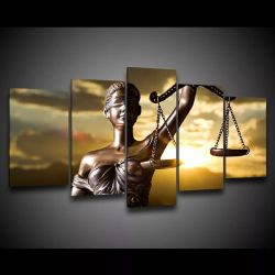 Quadro Decorativo 129x63 Escritório Advocacia Deusa Justiça