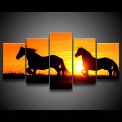 Quadro Decorativo 129x63 Sala Cavalos Por Do Sol Animais 1