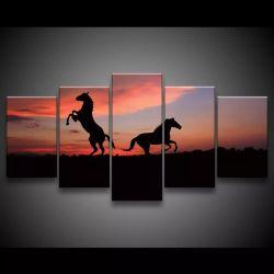 Quadro 3 Cavalos 63x130cm 5 peças em Tecido