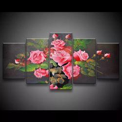 Quadro Decorativo 129x63 Sala Escritorio Flores Rosas 1