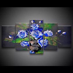 Quadro Decorativo 129x63 Sala Escritório Flores Rosas Azuis