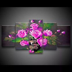 Quadro Decorativo 129x63 Sala Escritorio Flores Rosas Choque