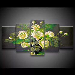 Quadro Decorativo 129x63 Sala Escritorio Flores Rosas Verdes