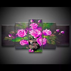 Quadro Decorativo 129x63 Sala Flores Rosas Choque 1