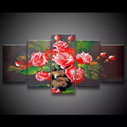 Quadro Decorativo 129x63 Sala Flores Rosas Vermelhas 1