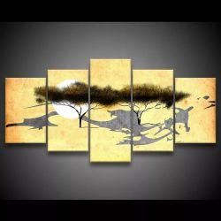 Quadro Decorativo 129x63 Sala Quarto Abstrato Árvore Safari