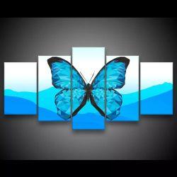 Quadro Decorativo 129x63 Sala Quarto Abstrato Borboleta Azul