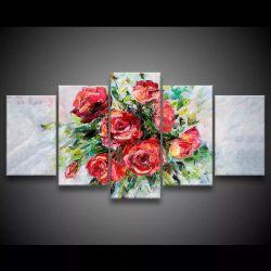 Quadro Decorativo 129x63 Sala Quarto Abstrato Buquê De Rosas