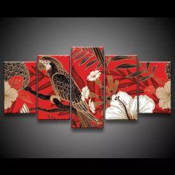Quadro Decorativo 129x63 Sala Quarto Arte Arara E Flores 1