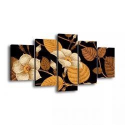 Quadro Decorativo 129x63 Sala Quarto Arte Flores Douradas 1