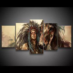 Quadro Decorativo 129x63 Sala Quarto Arte Índia Cavalo 1