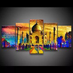 Quadro Decorativo 129x63 Sala Quarto Arte Índia Taj Mahal 1