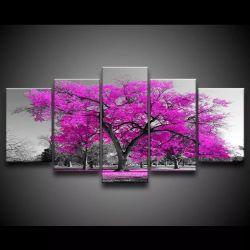 Quadro Decorativo 129x63 Sala Quarto Árvore Rosa 1