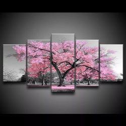 Quadro Decorativo 129x63 Sala Quarto Árvore Rosa Claro 1
