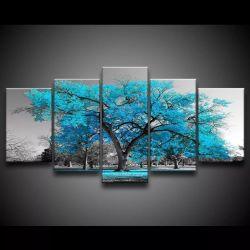 Quadro Decorativo 129x63 Sala Quarto Árvore Turquesa 1