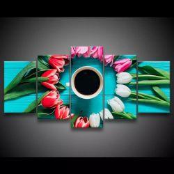 Quadro Decorativo 129x63 Sala Quarto Café Com Rosas 1