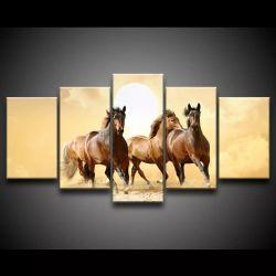 Quadro Decorativo 129x63 Sala Quarto Cavalo Kit 5 Peças 1