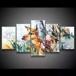 Quadro Decorativo 129x63 Sala Quarto Cervo Paisagem Pintura