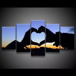 Quadro Decorativo 129x63 Sala Quarto Coração Por Do Sol Amor