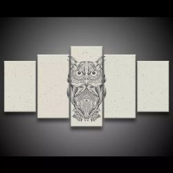 Quadro Decorativo 129x63 Sala Quarto Coruja Mandala Design 1