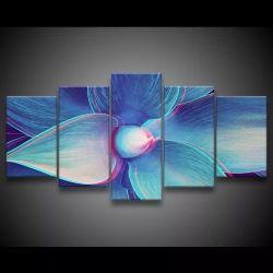 Quadro Decorativo 129x63 Sala Quarto Flor Azul Design 1