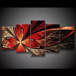Quadro Decorativo 129x63 Sala Quarto Flor Vermelha Design 1