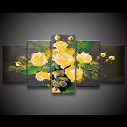 Quadro Decorativo 129x63 Sala Quarto Flores Rosas Amarelas 1