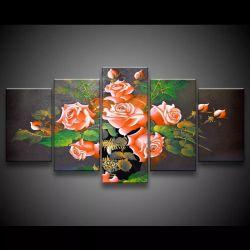 Quadro Decorativo 129x63 Sala Quarto Flores Rosas Laranjas 1