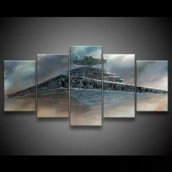 Quadro Decorativo 129x63 Sala Quarto Imperial Star Destroyer