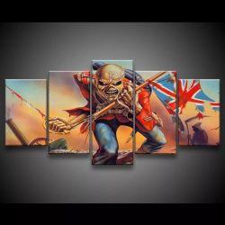 Quadro Decorativo 129x63 Sala Quarto Iron Maiden The Trooper