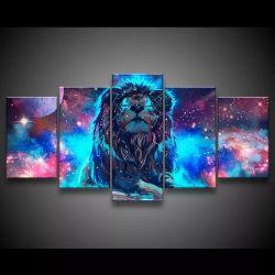 Quadro Decorativo 129x63 Sala Quarto Leão No Universo 1