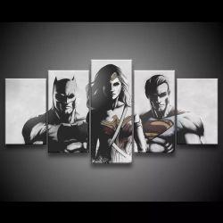 Quadro Decorativo 129x63 Sala Quarto Liga Da Justiça Trio 1