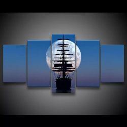 Quadro Decorativo 129x63 Sala Quarto Navio E Lua Cheia 1