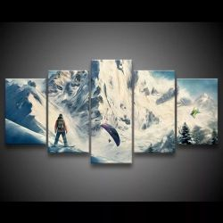 Quadro Decorativo 129x63 Sala Quarto Neve Snowboard Esporte