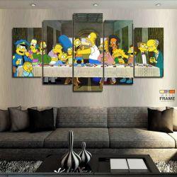 Quadros Simpsons Santa Ceia 63x130cm em Tecido