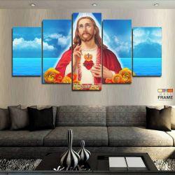 Quadros Sagrado Coração De Jesus 63x130 cm em Tecido