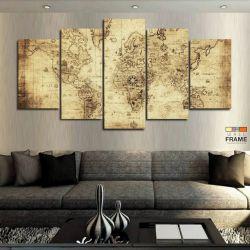 Quadros Mapa Mundi Antigo 63x130 cm em Tecido