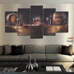 Quadros Decorativos Vinho Sala Cozinha 63x130 cm em Tecido