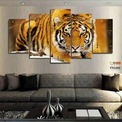 Quadros Decorativos Tigre Neve 63x130cm em Tecido