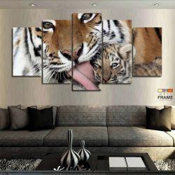 Quadros Decorativos Tigre Carinhoso 63x130cm em Tecido