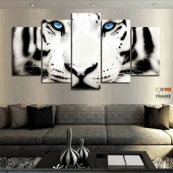 Quadros Decorativos Tigre Branco 63x130em Tecido