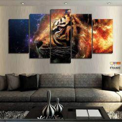 Quadros Decorativos Tigre Aguá E Fogo 63x130cm em Tecido