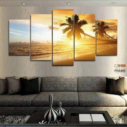 Quadros Decorativos Praia Sol Coqueiro 63x13 cm em Tecido