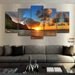 Quadros Decorativos Praia Por Do Sol Hd 63x130 cm em Tecido