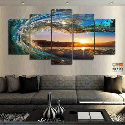 Quadros Decorativos Praia Onda Sol 63x130em Tecido