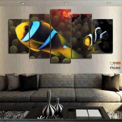 Quadros Decorativos Peixes Palhaço 63x130cm em Tecido
