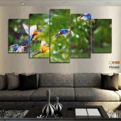 Quadros Decorativos Pássaros Água 63x130cm em Tecido