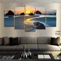 Quadros Decorativos Paisagem Praia 63x130cm em Tecido