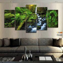 Quadros Decorativos Natureza Cachoeira 63x130 cm em Tecido